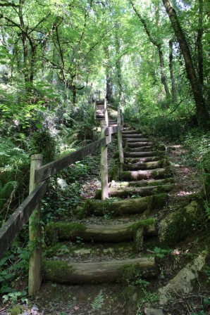 Hiking stairs at Puits d Enfer