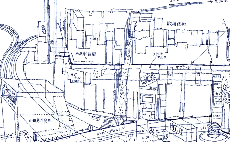 Architectural drawings freehand in ballpoint pen: Shinjuku Station Zoom