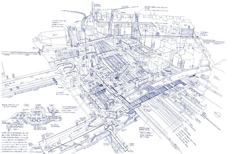 Architectural drawings freehand in ballpoint pen: Shinjuku Station