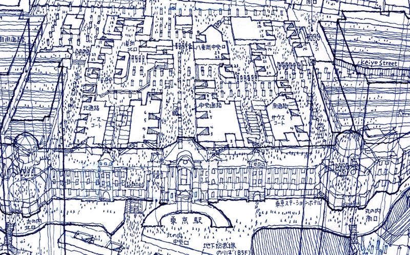 Architectural drawings freehand in ballpoint pen: Tokyo Station Zoom