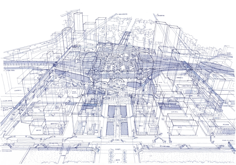 Architectural drawings freehand in ballpoint pen: Tokyo Station
