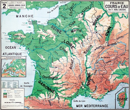 Carte Paul Vidal de La Blache - Les Cours d Eau de France