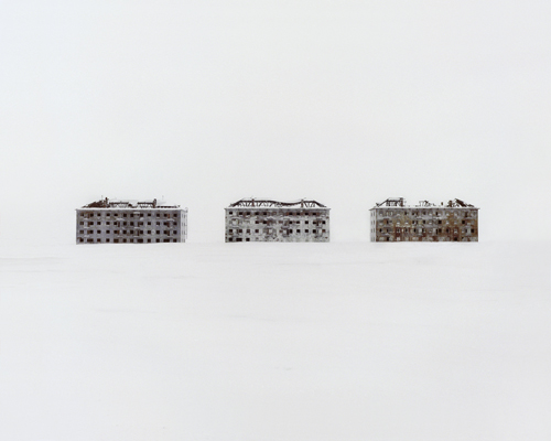 Former residential buildings in a deserted polar scientific town specialised on biological research.