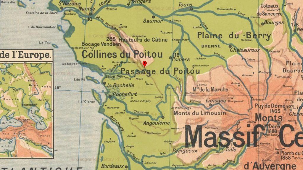 Map of western France.Southern tip of the Gâtine massif: le Puits d Enfer